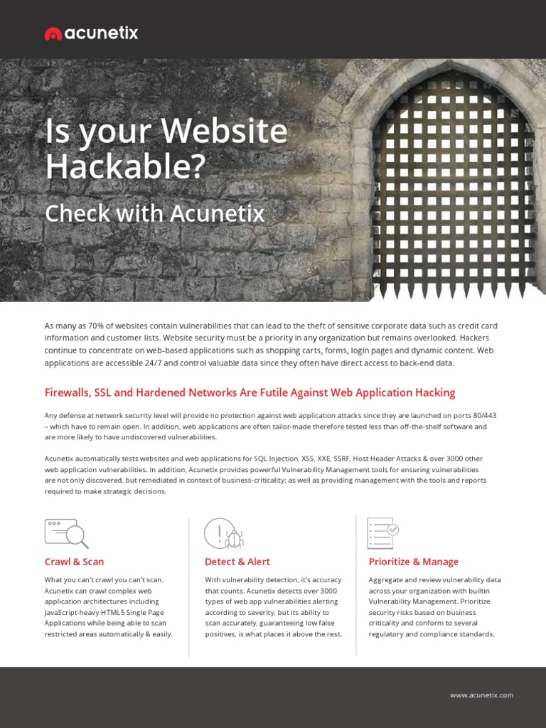 Acunetix V11 Brochure | Vulnerability (Computing) | Security