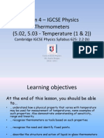 Form 4 – IGCSE Physics - Thermometers