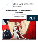Decolonization the End of Empire