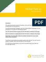 VerbalReasoningTest11 Questions