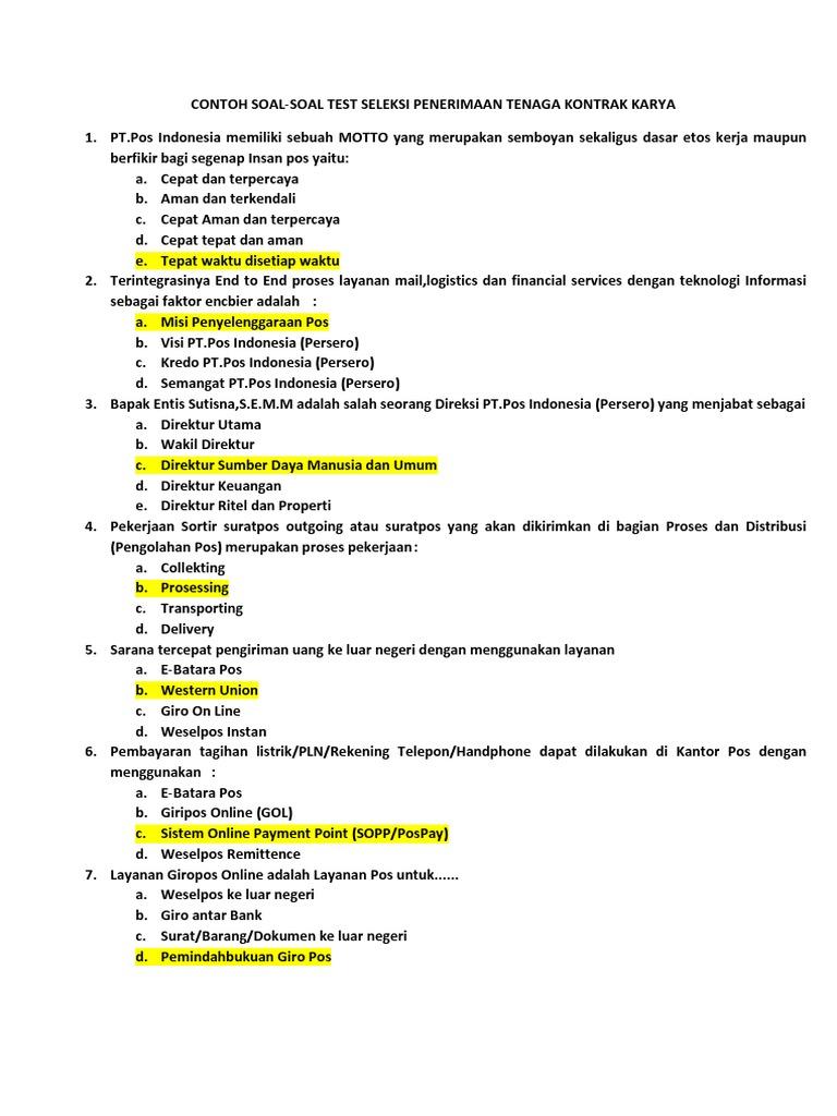 Contoh Soal Ujian Pos Docx 1
