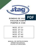 Manual de Instrucciones de Las Bombas de Vacio. ST-21, ST-22, ST-61, ST-62, ST-92