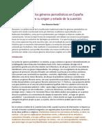 La teoría de los géneros periodísticos en España