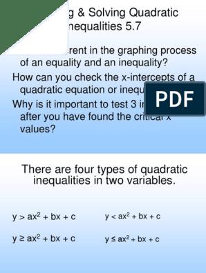 1 9 Graph Solve Quadratic Inequalities | Quadratic Equation