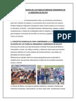 Cosmovisión y Filosofía de Los Pueblos Indígena Originarios de La Amazonia de Bolivia