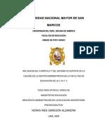 Influencia Del Curriculo y Del Sistema de Soporte en La Calidad de La Gestion Administrativa