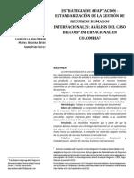 ESTRATEGIA DE ADAPTACIÓN - ESTANDARIZACIÓN DE LA GESTIÓN DE RECURSOS HUMANOS INTERNACIONALES- ANÁLISIS DEL CASO BELCORP INTERNACIONAL EN COLOMBIA