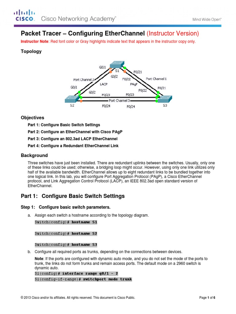 3 2 1 3 Packet Tracer - Configuring EtherChannel Instructions - IG
