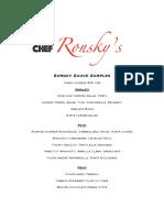 Ronsky's Sunday Sauce Sample Menu