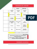 Calendario de Contenidos Tareas Gestion Facebook