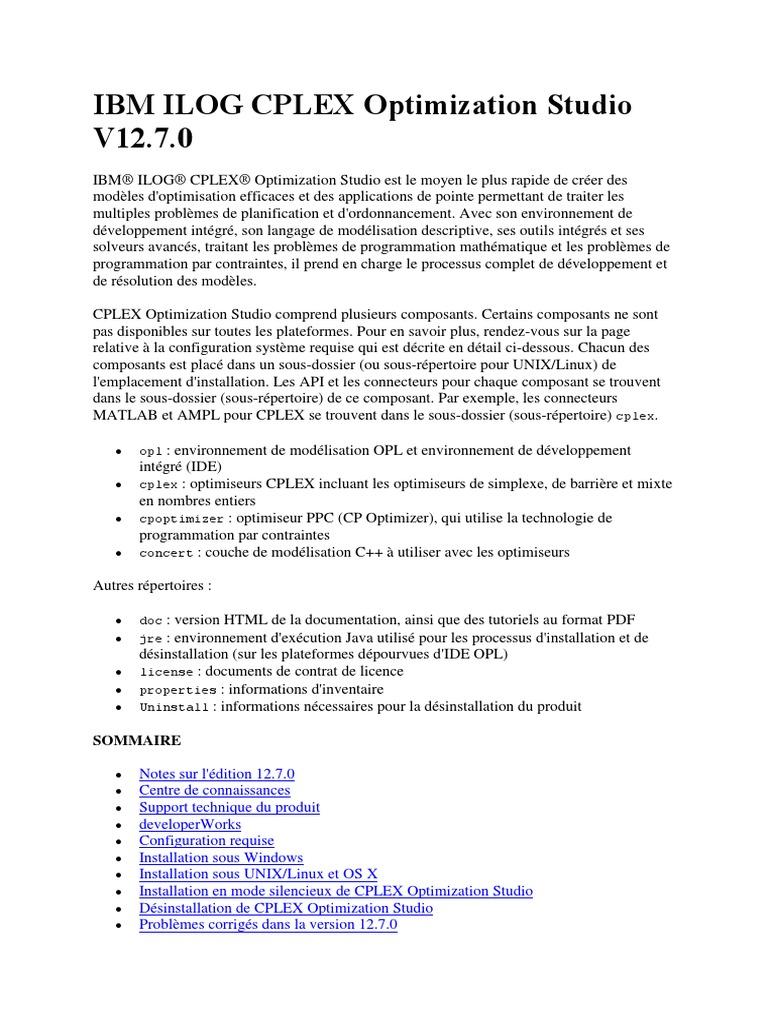 IBM ILOG CPLEX Optimization Studio V12