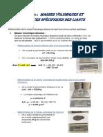 Masses Volumiques Et Surfaces Spécifiques Des Liants