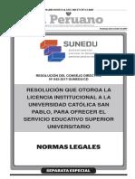 Resolución que otorga la Licencia Institucional a la Universidad Católica San Pablo para ofrecer el servicio educativo superior universitario