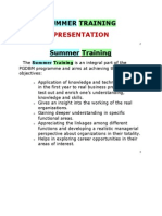 FORMAT for Report & Ppt of Summer Training