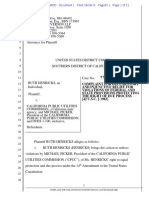 suit filed in federal court by Ruth Henricks vs. the California Public Utilities Commission