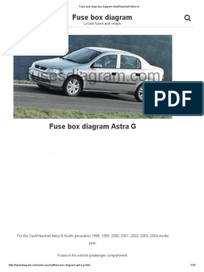 Fuse and Relay Box Diagram Opel_Vauxhall Astra G | Opel ... Ah Astra Fuse Box Diagram on
