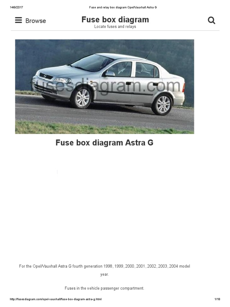 Fuse and Relay Box Diagram Opel_Vauxhall Astra G | Opel | Headlamp | 1998 Astra Fuse Box |  | Scribd
