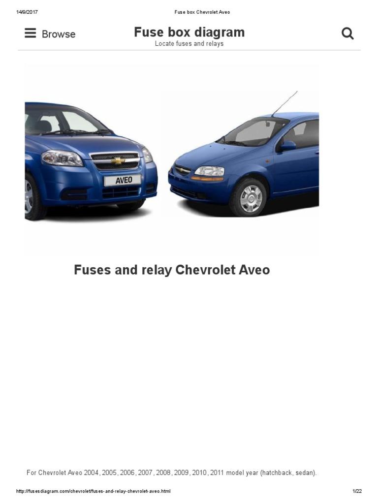 [DIAGRAM_38YU]  Fuse Box Chevrolet Aveo | Automotive Technologies | Automotive Industry | Chevrolet Aveo Fuse Box Diagram |  | Scribd