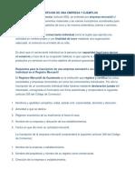 f Inscripcion de Una Empresa y Ejemplos