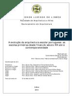 A Evolução Da Arquitectura Escolar Portuguesa - Carla Andreia Galvão de Carvalho