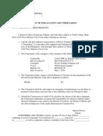 Affidavit of Explanation and Undertaking