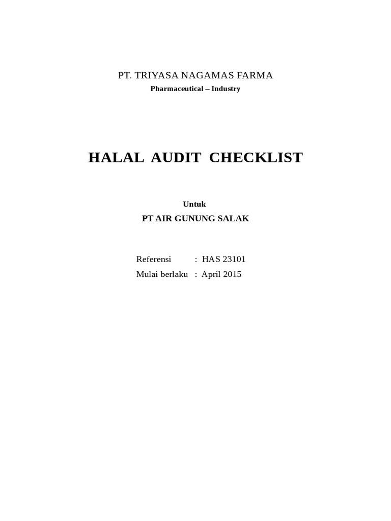 Check List Audit Internal Untuk Menjawab 11 Kriteria Sjh Docx