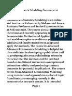 Advanced Econometric Modeling Online Course