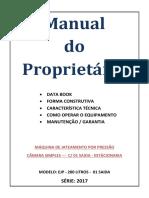 Manual - Maquina Pressurizada 280 Litros Dosadora 1e 1 4 Bico Longo1 4