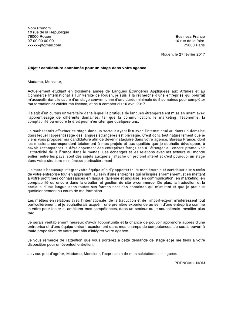 Business France Lettre De Motivation Pdf Université France