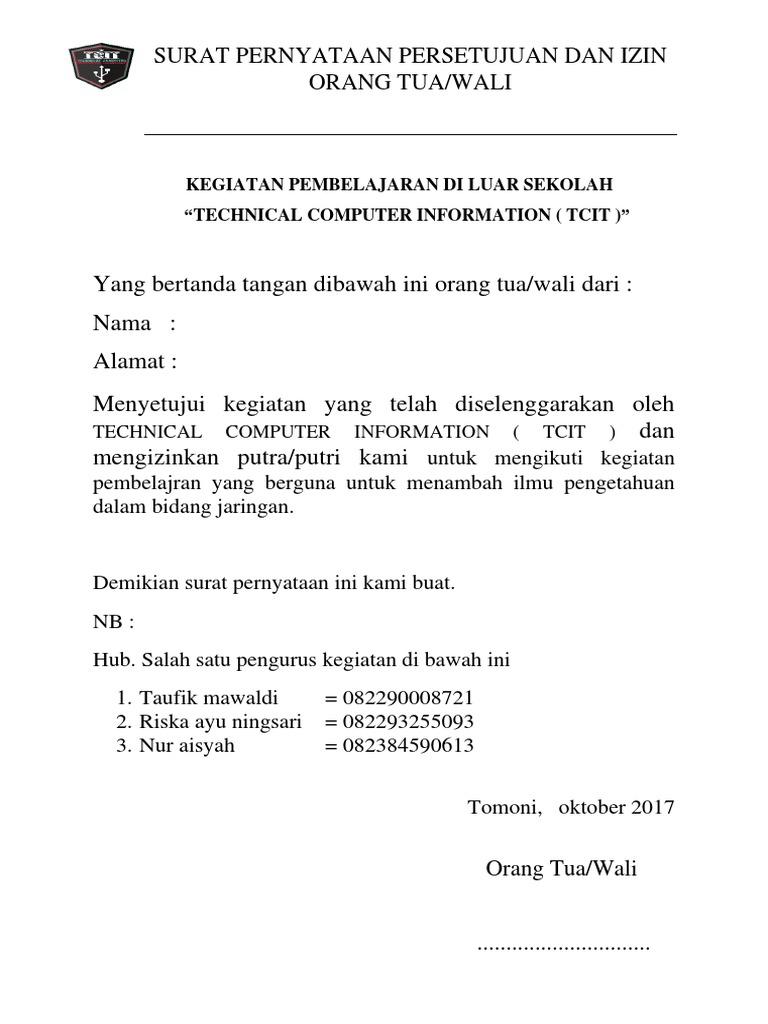 Orang Tua Wali Contoh Surat Pernyataan Persetujuan ...