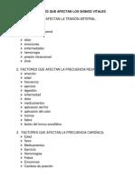 Factores Que Afectan Los Signos Vitales