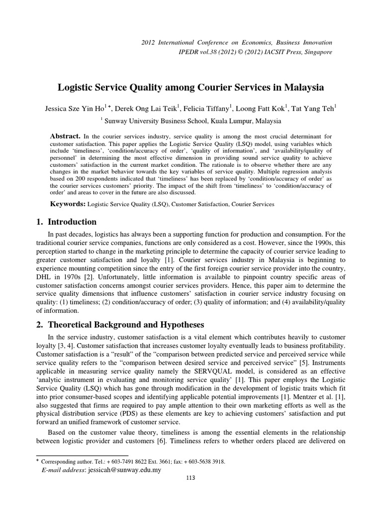 Logistic Service Quality among Courier Services in Malaysia pdf
