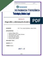 Dosaje etílico  y determinación de ácido cianhídrico.