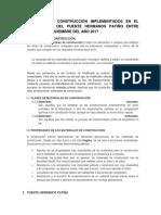 Materiales de Construcción Implementados en El Mantenimiento Del Puente Hermanos Patiño Entre Septiembre a Diciembre Del Año 2017