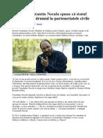 Preotul Constantin Necula Spune Că Statul Român Va Da Drumul La Parteneriatele Civile