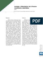 Alberto Hidalgo Tuñon, Nueva Fenomenología, o Refundación