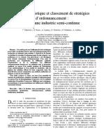 Analyse Statistique Et Classement de Strategies Dordonnancement Cas Dune Industrie Semi-continue