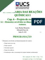 Cap. 6.1 - Projeto de Reatores - Elementos Envolvidos No Dimensionamento de Reatores