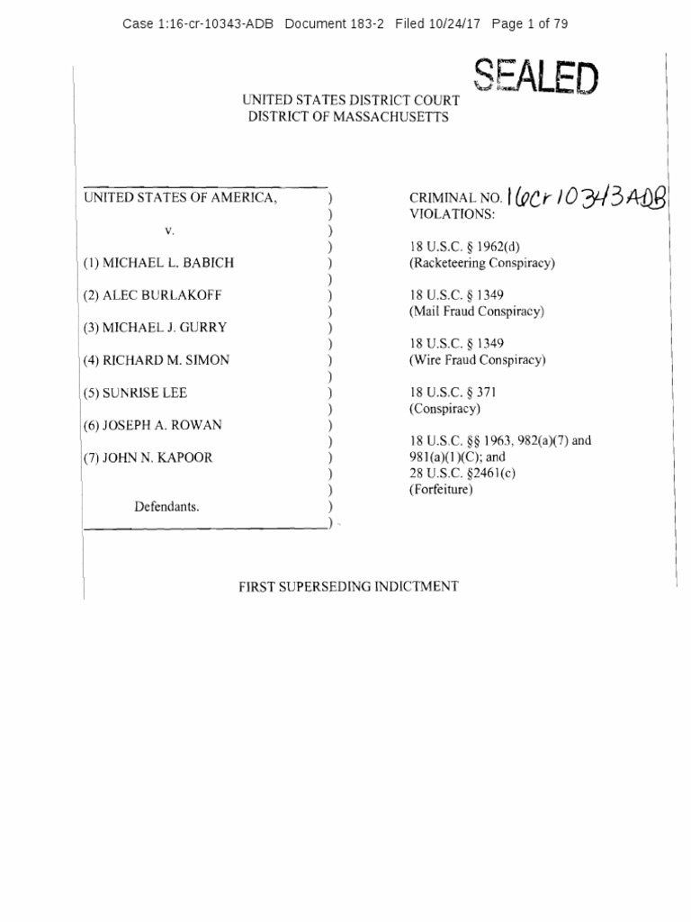 Unsealed Indictment vs. Insys Founder John Kapoor, others ...