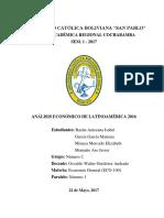 Análisis Económico de Latinoamerica en 2016