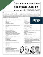 Generational Personality Quiz Handout