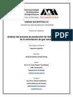 Analisis Del Proceso de Produccion de Hidrogeno a Partir