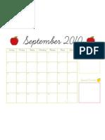 September Free Calendar