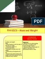 Physics 3 - Mass and Weight