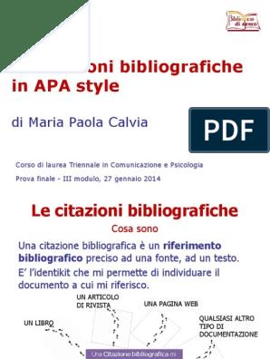 Apa Citazione Bibliografiche