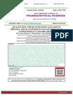 QUALITATIVE AND QUANTITATIVE ANALYSIS OF PHENOLS AND FLAVONOIDS IN FOLIAR EXTRACT OF ANTHOCEPHALUS CADAMBA (ROXB.).