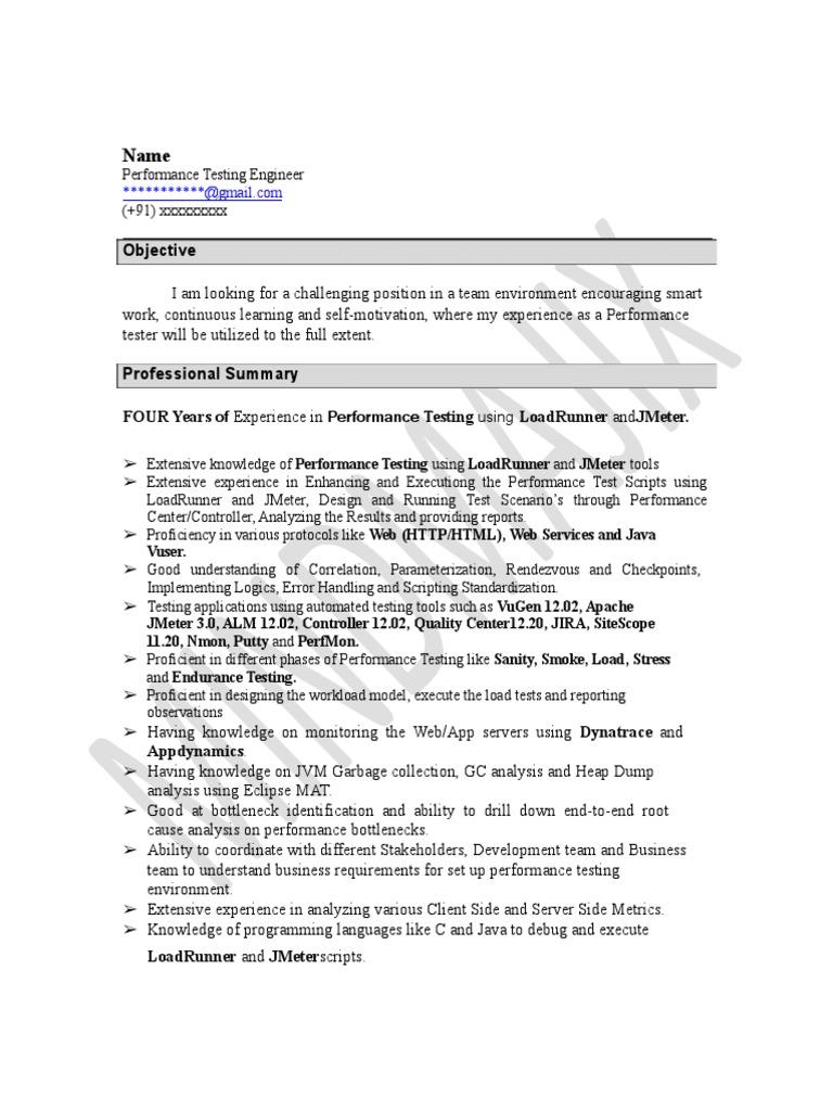 JMeter Sample Resume 2