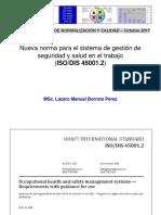 Nueva norma ISO/DIS 45001.2 Sistema de  Gestión de Seguridad y Salud en el Trabajo