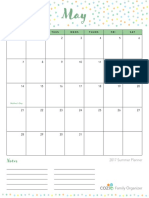 2017 Cozi Summer Planner 1 Month View