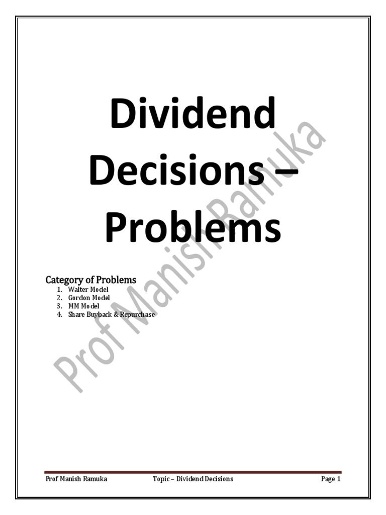 CA Final SFM Questions On Dividend Decision Prof Manish OW01JKS2